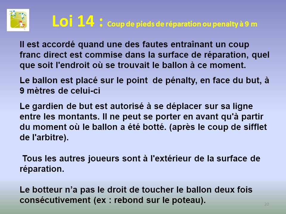 Loi 14 : Coup de pieds de réparation ou penalty à 9 m Il est accordé quand une des fautes entraînant un coup franc direct est commise dans la surface