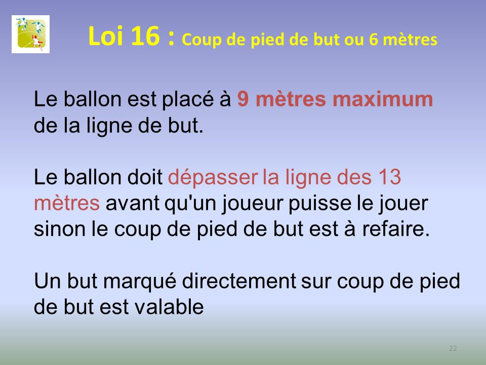Loi 16 : Coup de pied de but ou 6 mètres Le ballon est placé à 9 mètres maximum de la ligne de but. Le ballon doit dépasser la ligne des 13 mètres ava