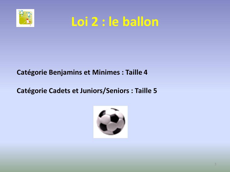Loi 2 : le ballon Catégorie Benjamins et Minimes : Taille 4 Catégorie Cadets et Juniors/Seniors : Taille 5 3