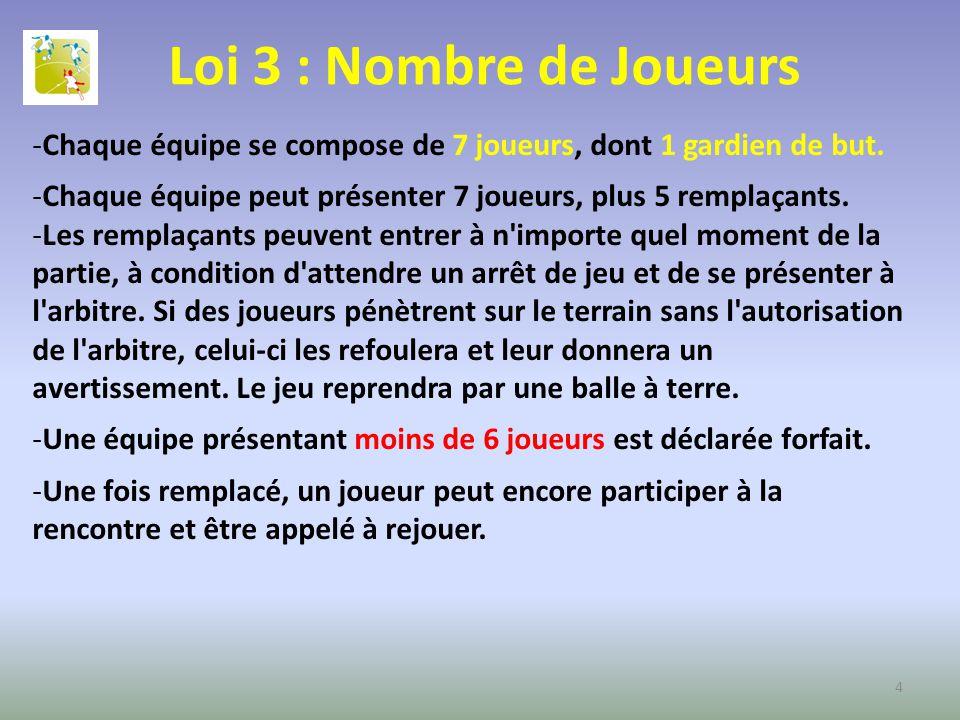 Loi 3 : Nombre de Joueurs -Chaque équipe se compose de 7 joueurs, dont 1 gardien de but. -Chaque équipe peut présenter 7 joueurs, plus 5 remplaçants.