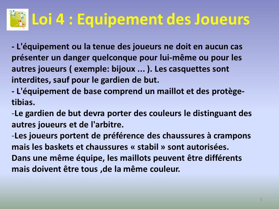 Loi 4 : Equipement des Joueurs - L'équipement ou la tenue des joueurs ne doit en aucun cas présenter un danger quelconque pour lui-même ou pour les au