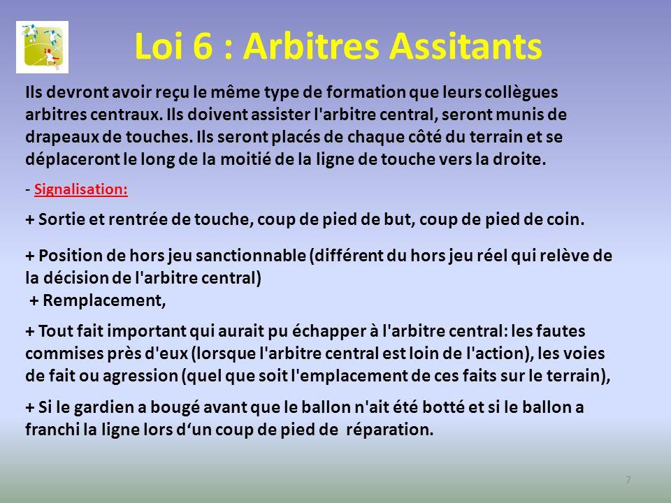 Loi 6 : Arbitres Assitants Ils devront avoir reçu le même type de formation que leurs collègues arbitres centraux. Ils doivent assister l'arbitre cent
