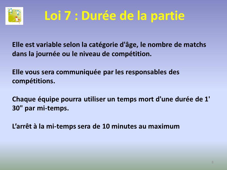 Loi 7 : Durée de la partie Elle est variable selon la catégorie d'âge, le nombre de matchs dans la journée ou le niveau de compétition. Elle vous sera