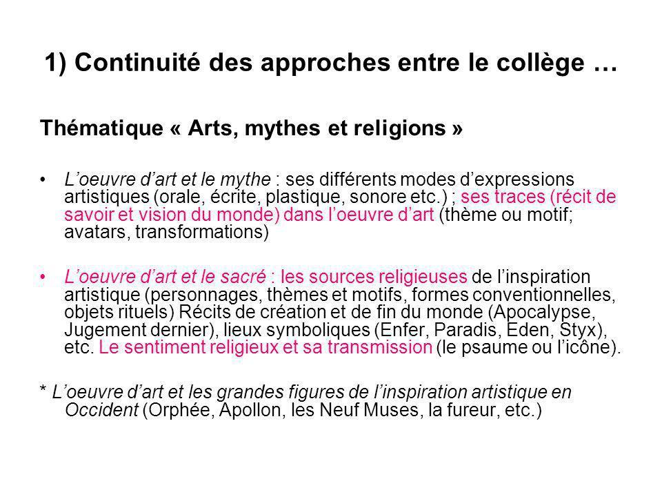1) Continuité des approches entre le collège … Thématique « Arts, mythes et religions » Loeuvre dart et le mythe : ses différents modes dexpressions a