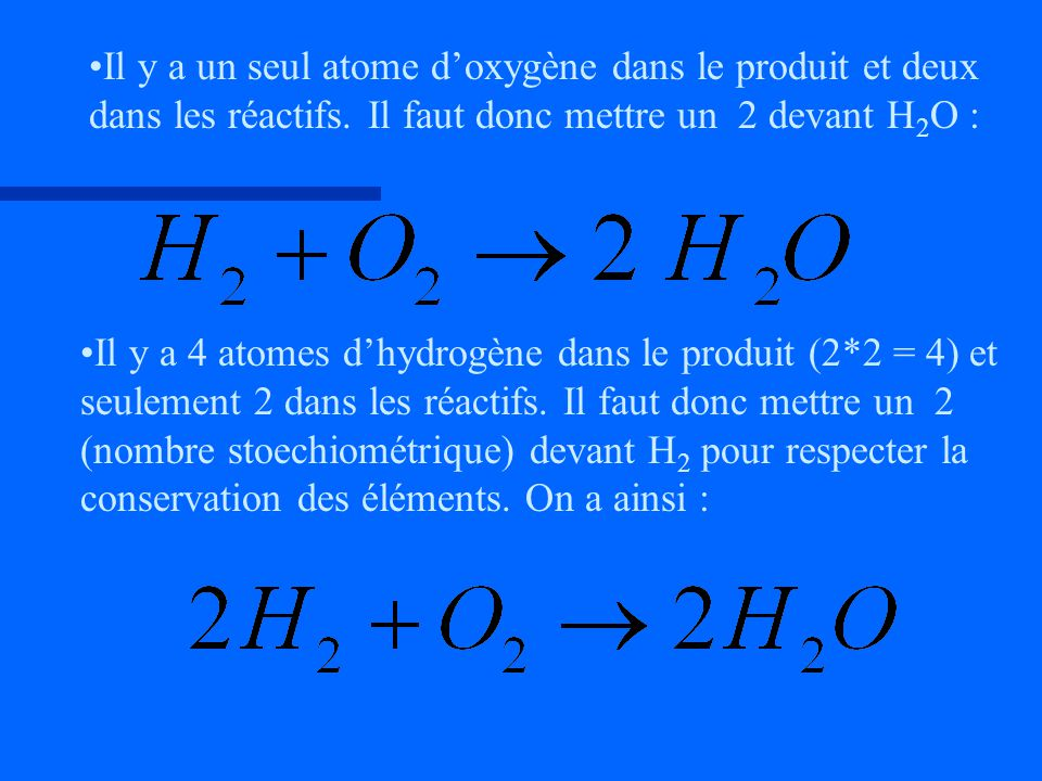 Il y a un seul atome doxygène dans le produit et deux dans les réactifs. Il faut donc mettre un 2 devant H 2 O : Il y a 4 atomes dhydrogène dans le pr