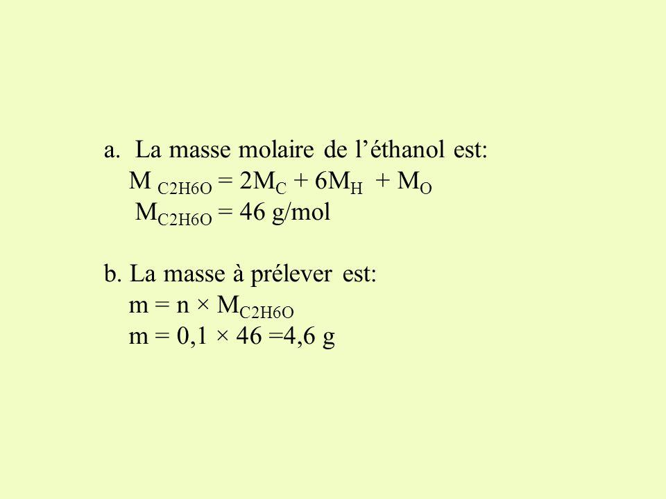 Léthanol est un liquide constitué de molécules de formule brute : C 2 H 6 O. M C = 12 g/mol M H = 1g/mol M O = 16 g/mol a.Déterminer la masse molaire