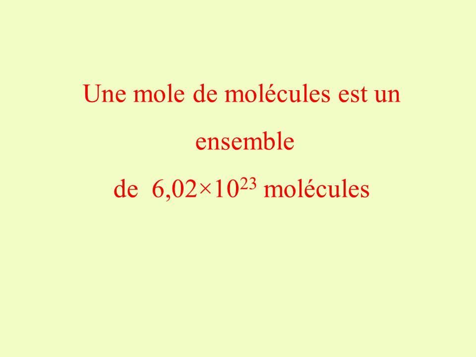 En utilisant les termes suivants, définir une mole de molécules : molécules-de-une-ensemble-mole-un-de-est molécules-6,02×10 23