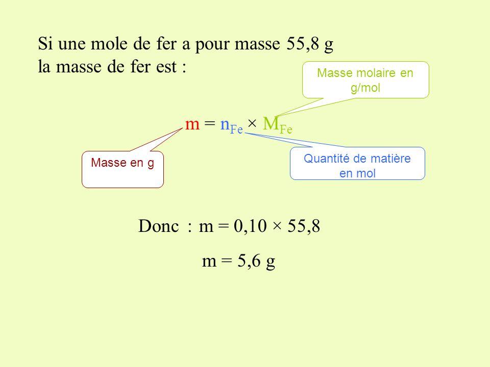 La masse molaire atomique du fer est M Fe = 55,8 g/mol Un morceau de fer contient 0,10 mol de fer. Quelle est la masse de ce morceau de fer?