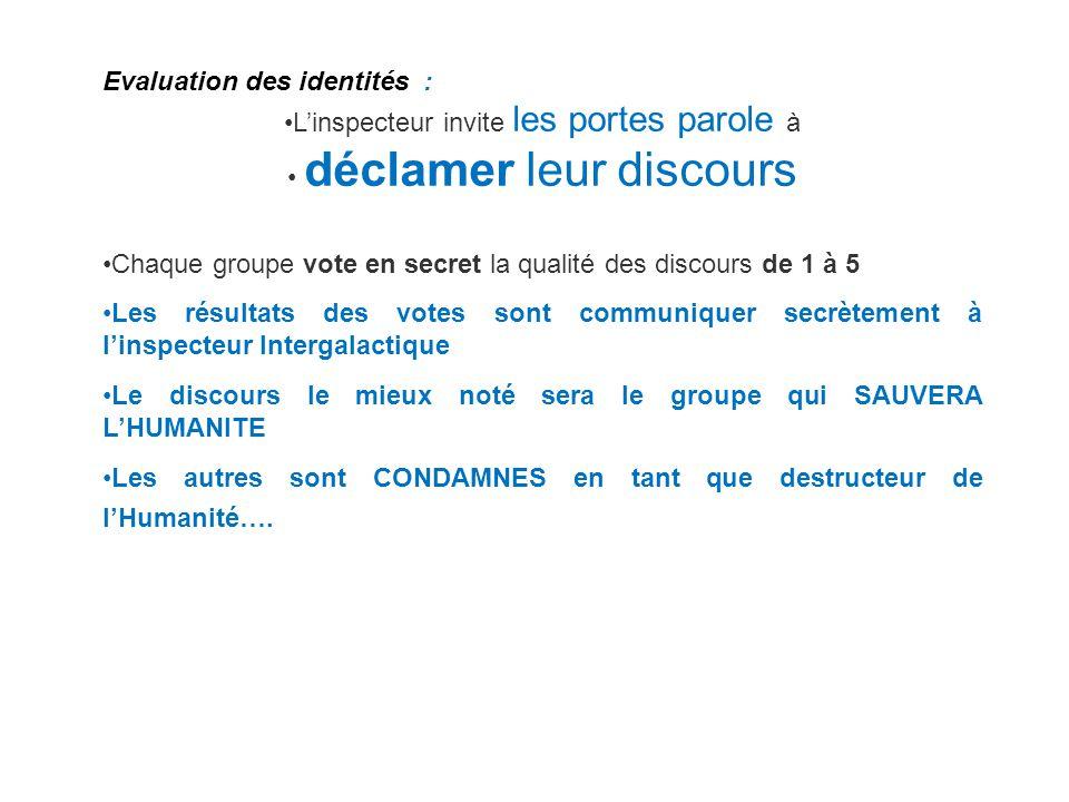 Evaluation des identités : Linspecteur invite les portes parole à déclamer leur discours Chaque groupe vote en secret la qualité des discours de 1 à 5