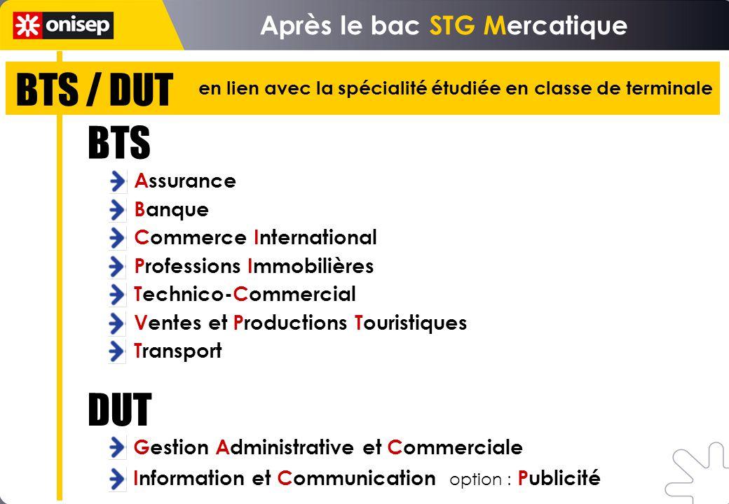 BTS / DUT Après le bac STG Mercatique Assurance Banque Commerce International Professions Immobilières Technico-Commercial Ventes et Productions Touri