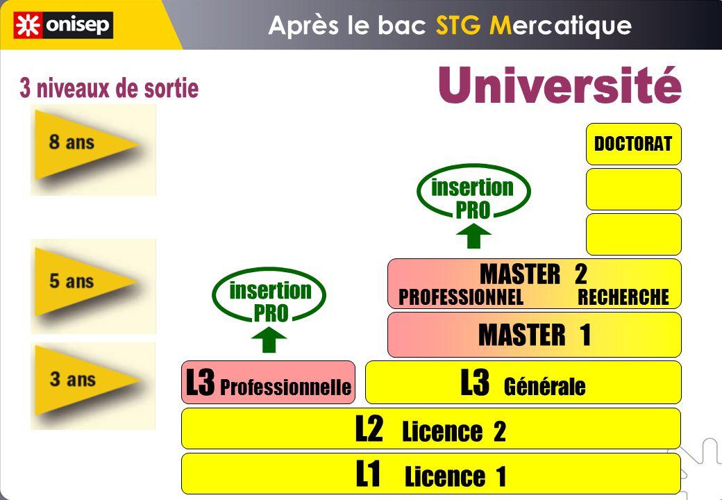 L1 Licence 1 L2 Licence 2 L3 Professionnelle L3 Générale MASTER 1 DOCTORAT insertion PRO insertion PRO MASTER 2 PROFESSIONNEL RECHERCHE Après le bac STG Mercatique