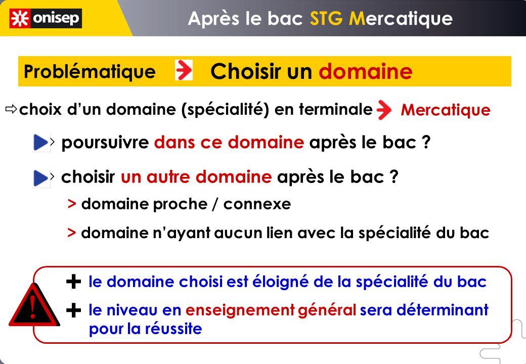 Problématique Choisir un domaine choix dun domaine (spécialité) en terminale Mercatique poursuivre dans ce domaine après le bac .