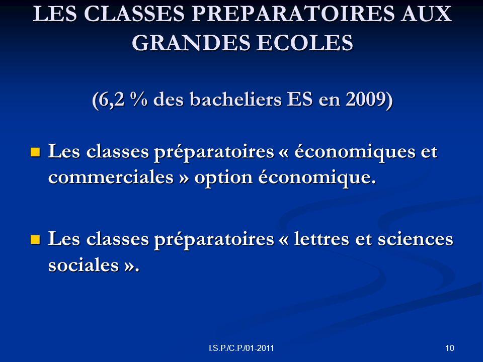 10I.S.P./C.P./01-2011 LES CLASSES PREPARATOIRES AUX GRANDES ECOLES (6,2 % des bacheliers ES en 2009) Les classes préparatoires « économiques et commerciales » option économique.