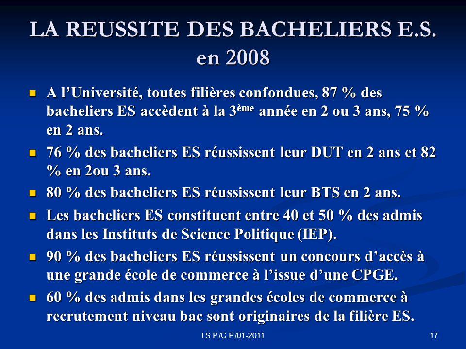 17I.S.P./C.P./01-2011 LA REUSSITE DES BACHELIERS E.S.