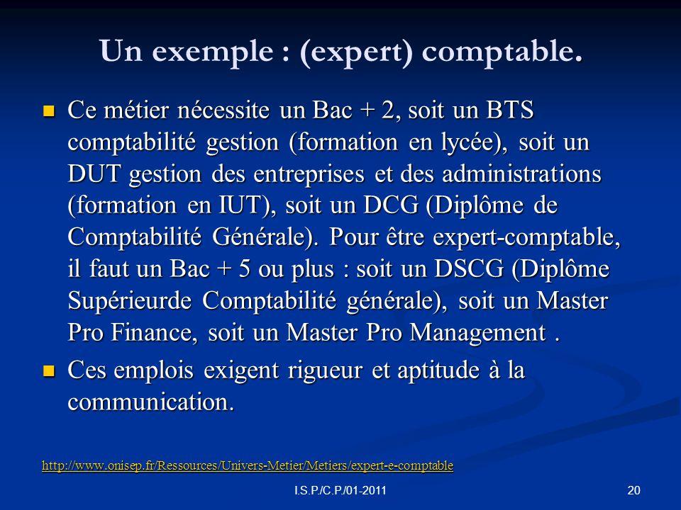 Un exemple : (expert) comptable.