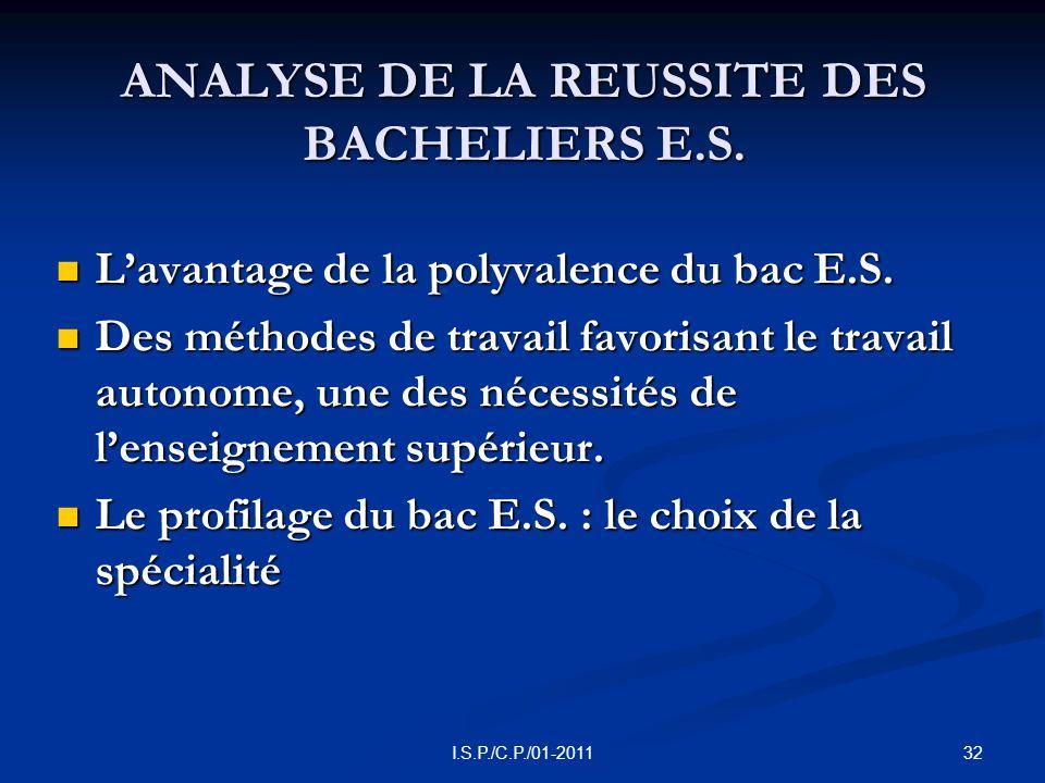 32I.S.P./C.P./01-2011 ANALYSE DE LA REUSSITE DES BACHELIERS E.S.
