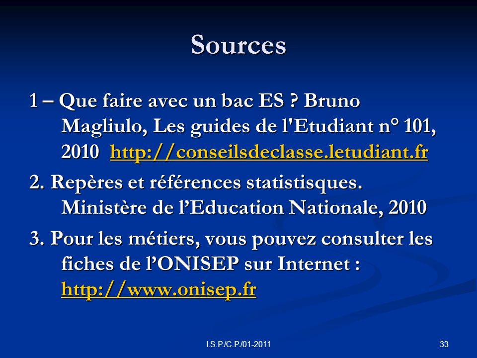 33I.S.P./C.P./01-2011 Sources 1 – Que faire avec un bac ES .