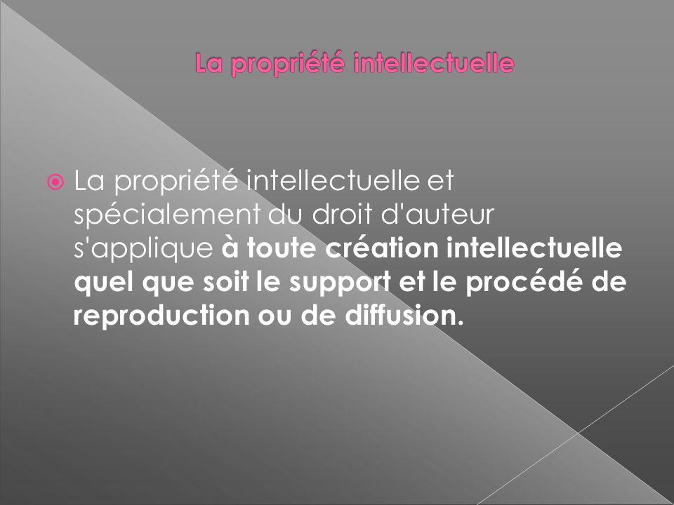 La propriété intellectuelle et spécialement du droit d auteur s applique à toute création intellectuelle quel que soit le support et le procédé de reproduction ou de diffusion.