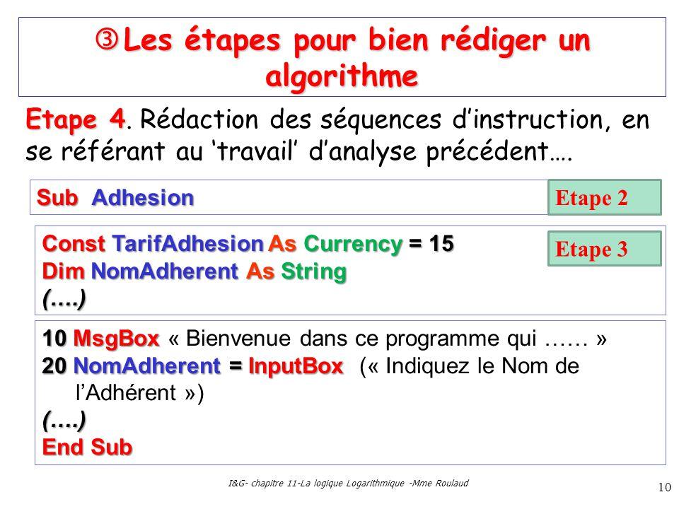 I&G- chapitre 11-La logique Logarithmique -Mme Roulaud 10 Les étapes pour bien rédiger un algorithme Les étapes pour bien rédiger un algorithme Etape