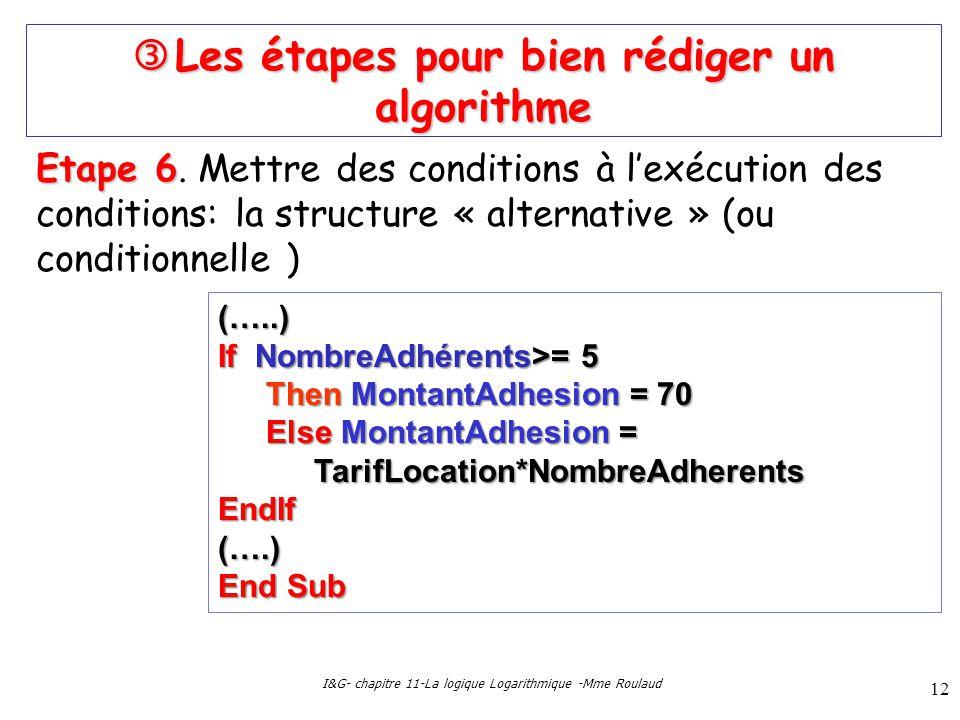 I&G- chapitre 11-La logique Logarithmique -Mme Roulaud 12 Les étapes pour bien rédiger un algorithme Les étapes pour bien rédiger un algorithme Etape