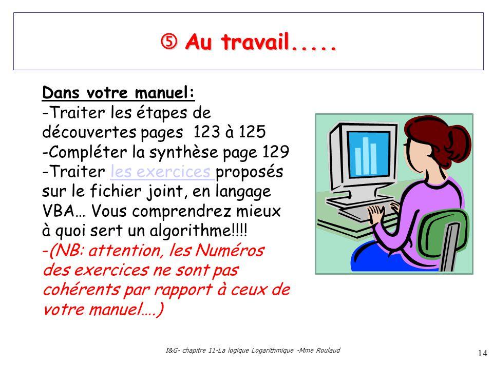 I&G- chapitre 11-La logique Logarithmique -Mme Roulaud 14 Au travail..... Au travail..... Dans votre manuel: -Traiter les étapes de découvertes pages