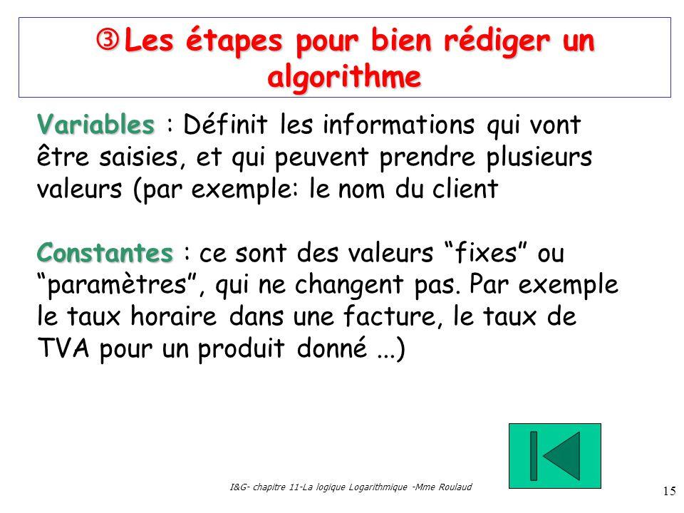 I&G- chapitre 11-La logique Logarithmique -Mme Roulaud 15 Les étapes pour bien rédiger un algorithme Les étapes pour bien rédiger un algorithme Variab