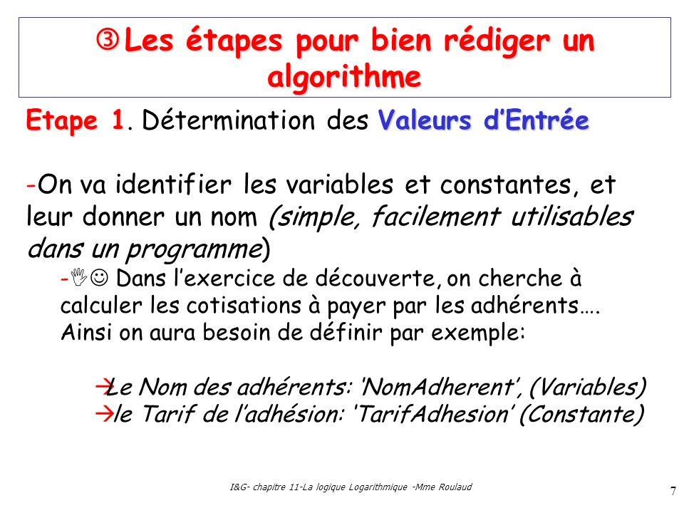 I&G- chapitre 11-La logique Logarithmique -Mme Roulaud 7 Les étapes pour bien rédiger un algorithme Les étapes pour bien rédiger un algorithme Etape 1