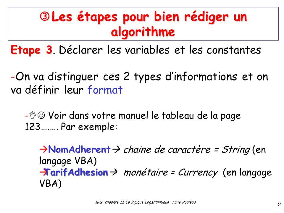 I&G- chapitre 11-La logique Logarithmique -Mme Roulaud 9 Les étapes pour bien rédiger un algorithme Les étapes pour bien rédiger un algorithme Etape 3