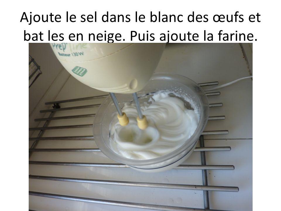 Ajoute le sel dans le blanc des œufs et bat les en neige. Puis ajoute la farine.