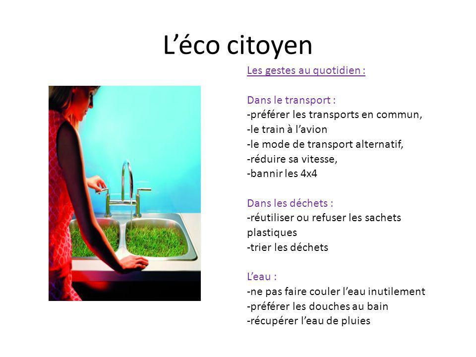Léco citoyen Les gestes au quotidien : Dans le transport : -préférer les transports en commun, -le train à lavion -le mode de transport alternatif, -r