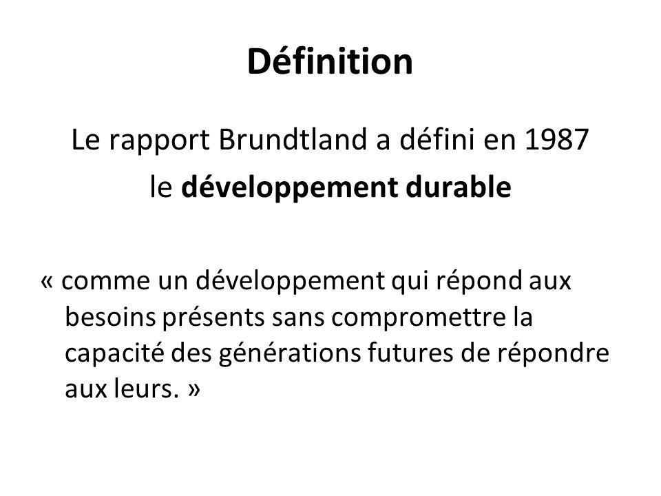 Définition Le rapport Brundtland a défini en 1987 le développement durable « comme un développement qui répond aux besoins présents sans compromettre