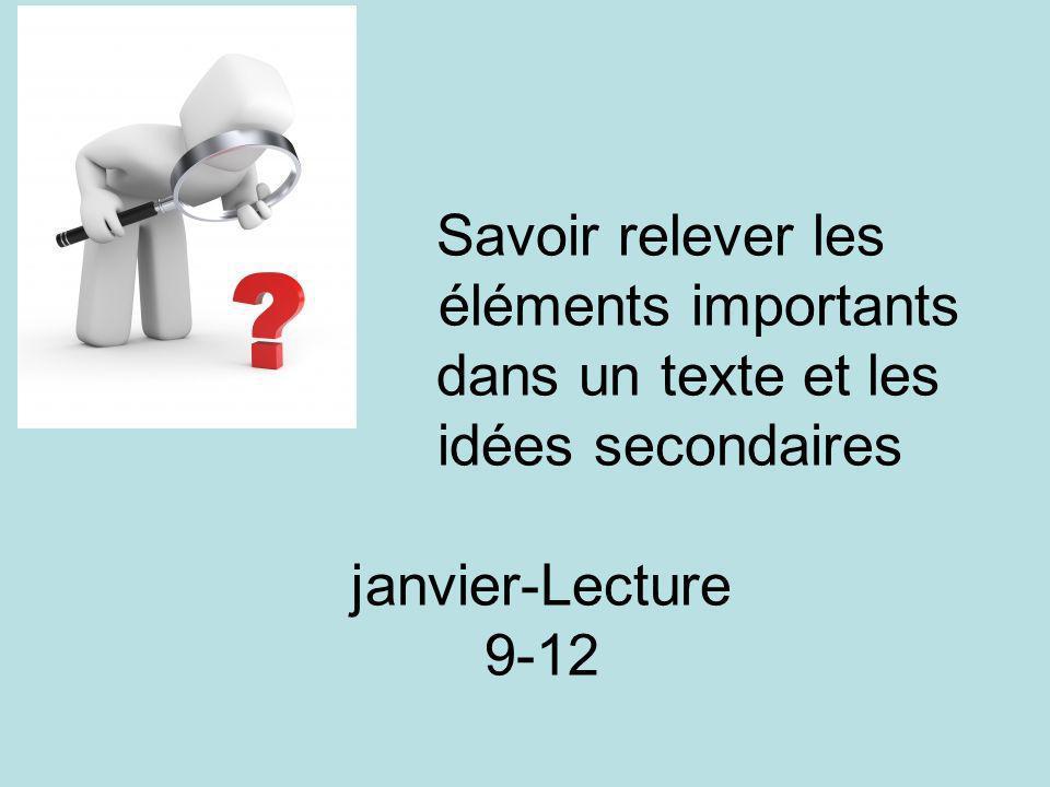Savoir relever les éléments importants dans un texte et les idées secondaires janvier-Lecture 9-12