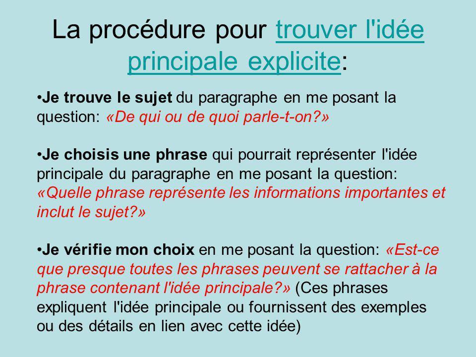 La procédure pour trouver l'idée principale explicite:trouver l'idée principale explicite Je trouve le sujet du paragraphe en me posant la question: «