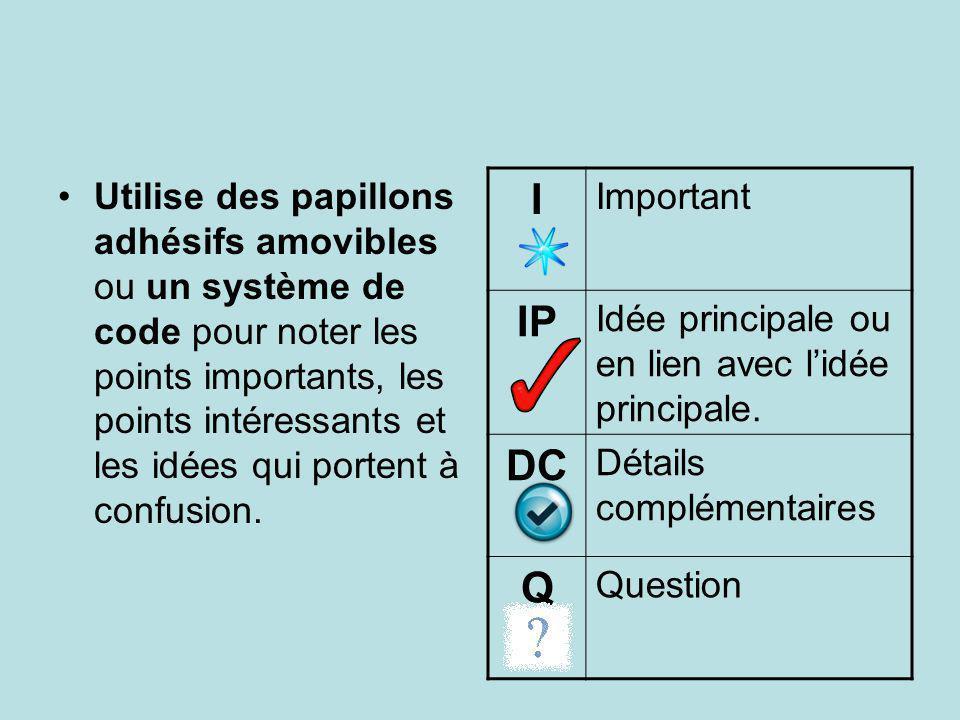 Utilise des papillons adhésifs amovibles ou un système de code pour noter les points importants, les points intéressants et les idées qui portent à co