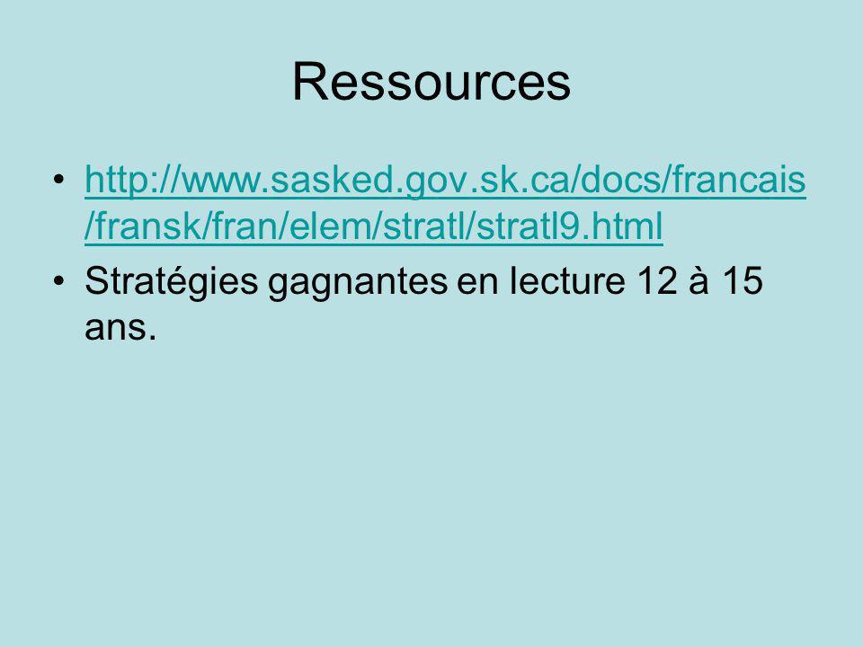Ressources http://www.sasked.gov.sk.ca/docs/francais /fransk/fran/elem/stratl/stratl9.htmlhttp://www.sasked.gov.sk.ca/docs/francais /fransk/fran/elem/