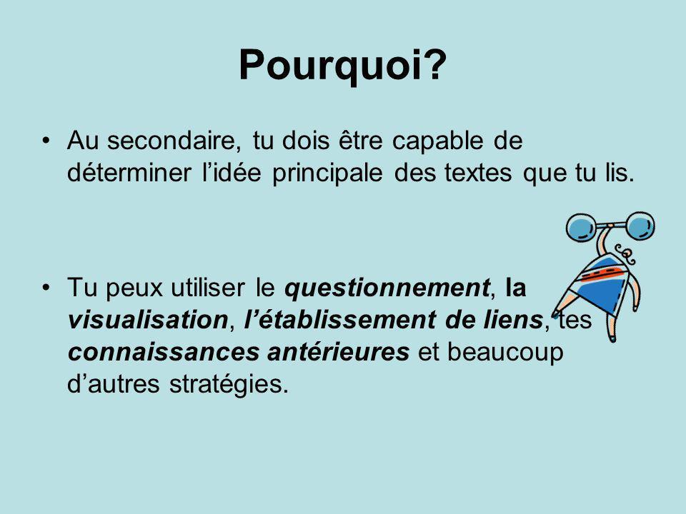 Ressources http://www.sasked.gov.sk.ca/docs/francais /fransk/fran/elem/stratl/stratl9.htmlhttp://www.sasked.gov.sk.ca/docs/francais /fransk/fran/elem/stratl/stratl9.html Stratégies gagnantes en lecture 12 à 15 ans.