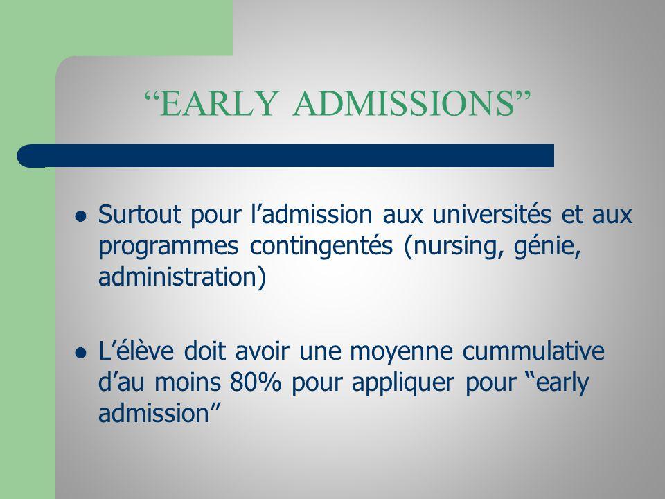 EARLY ADMISSIONS Surtout pour ladmission aux universités et aux programmes contingentés (nursing, génie, administration) Lélève doit avoir une moyenne cummulative dau moins 80% pour appliquer pour early admission