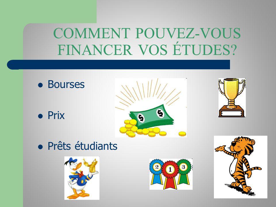 COMMENT POUVEZ-VOUS FINANCER VOS ÉTUDES? Bourses Prix Prêts étudiants