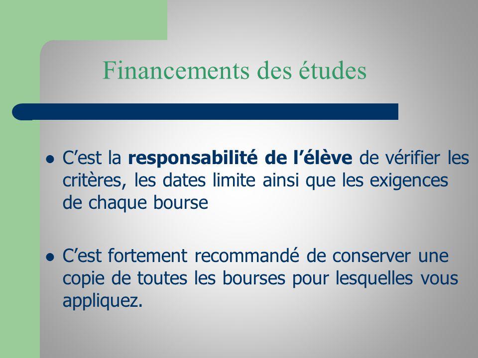 Financements des études Cest la responsabilité de lélève de vérifier les critères, les dates limite ainsi que les exigences de chaque bourse Cest fort