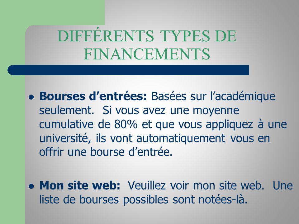 DIFFÉRENTS TYPES DE FINANCEMENTS Bourses dentrées: Basées sur lacadémique seulement.