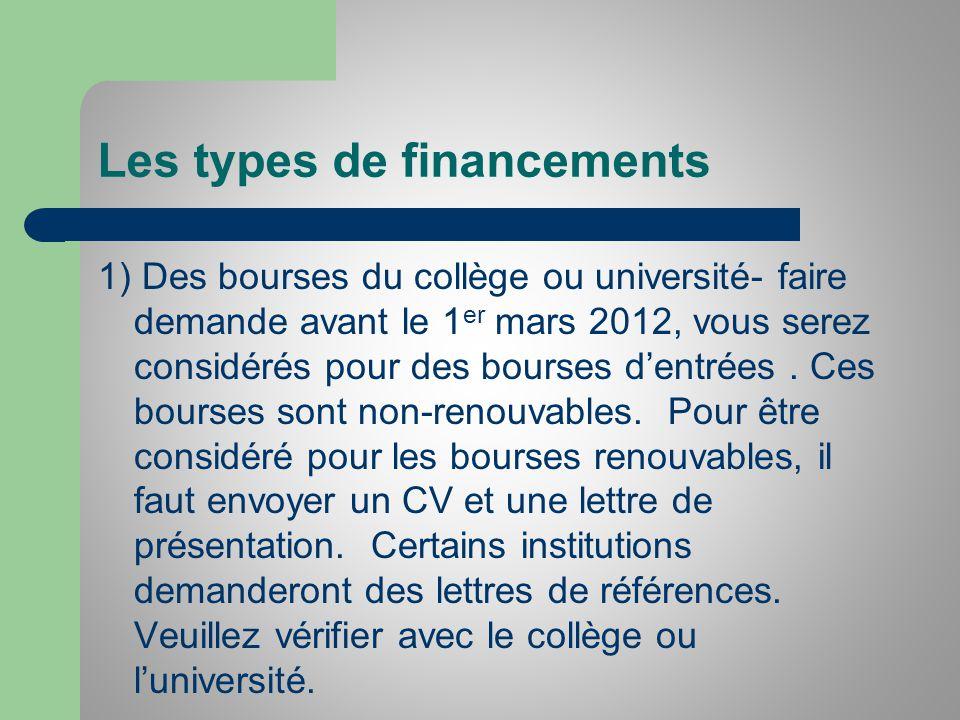 Les types de financements 1) Des bourses du collège ou université- faire demande avant le 1 er mars 2012, vous serez considérés pour des bourses dentrées.