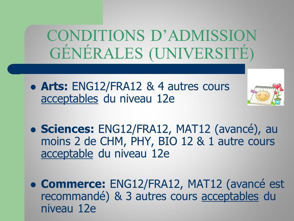 CONDITIONS DADMISSION GÉNÉRALES (UNIVERSITÉ) Arts: ENG12/FRA12 & 4 autres cours acceptables du niveau 12e Sciences: ENG12/FRA12, MAT12 (avancé), au mo