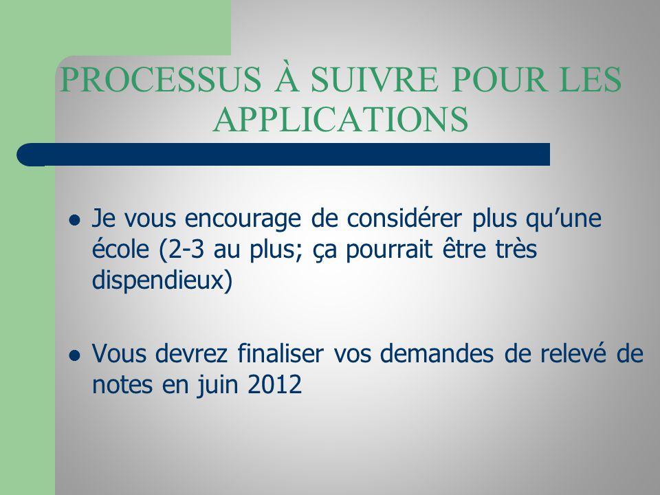 PROCESSUS À SUIVRE POUR LES APPLICATIONS Je vous encourage de considérer plus quune école (2-3 au plus; ça pourrait être très dispendieux) Vous devrez finaliser vos demandes de relevé de notes en juin 2012