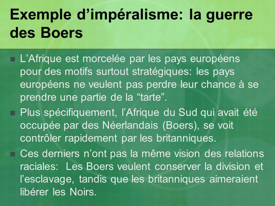Exemple dimpéralisme: la guerre des Boers LAfrique est morcelée par les pays européens pour des motifs surtout stratégiques: les pays européens ne veulent pas perdre leur chance à se prendre une partie de la tarte.