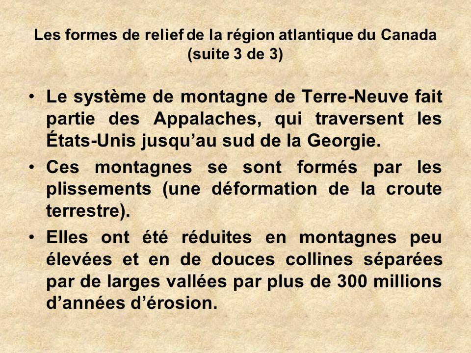 Les formes de relief de la région atlantique du Canada (suite 3 de 3) Le système de montagne de Terre-Neuve fait partie des Appalaches, qui traversent