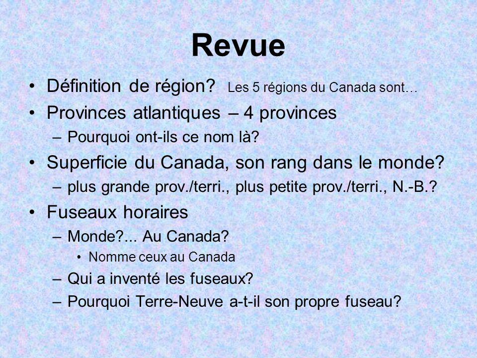 Revue Définition de région? Les 5 régions du Canada sont… Provinces atlantiques – 4 provinces –Pourquoi ont-ils ce nom là? Superficie du Canada, son r