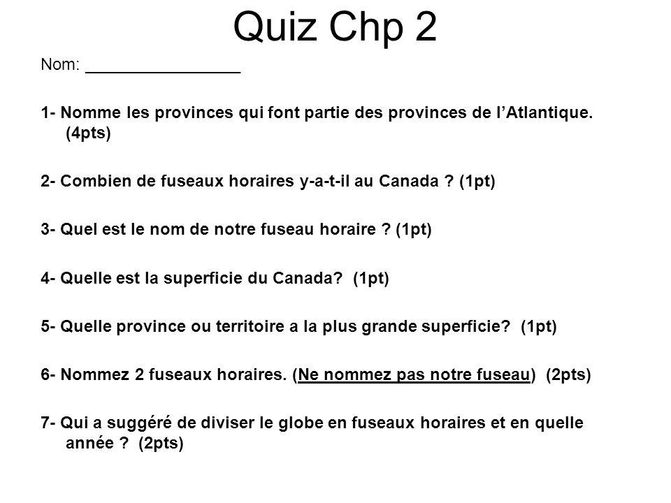 Quiz Chp 2 Nom: _________________ 1- Nomme les provinces qui font partie des provinces de lAtlantique. (4pts) 2- Combien de fuseaux horaires y-a-t-il