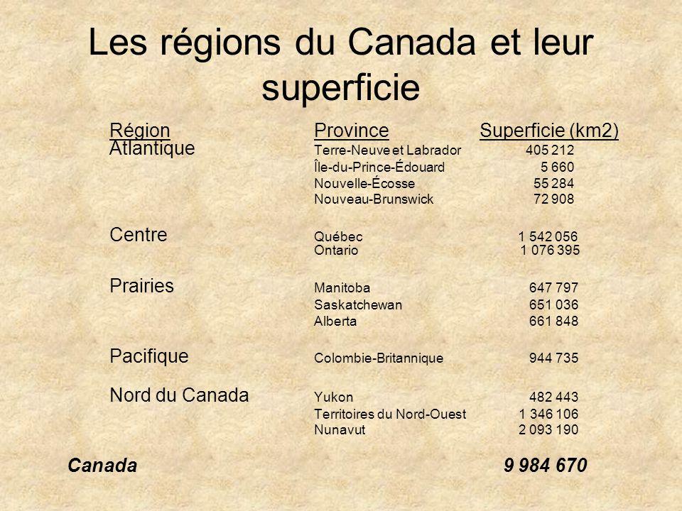 Les régions du Canada et leur superficie RégionProvince Superficie (km2) Atlantique Terre-Neuve et Labrador 405 212 Île-du-Prince-Édouard 5 660 Nouvel