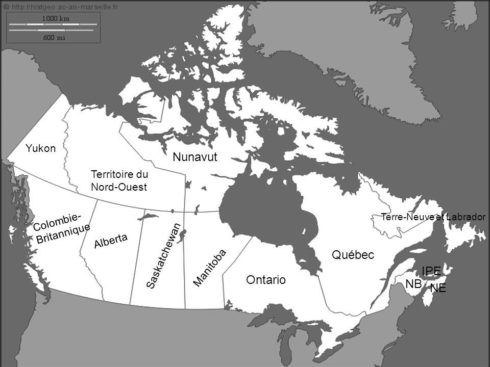 Nunavut Territoire du Nord-Ouest Yukon Colombie- Britannique Alberta Saskatchewan Manitoba Ontario Québec NB NE IPE Terre-Neuve et Labrador