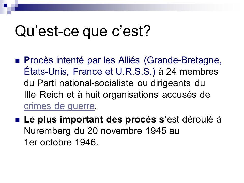 Quest-ce que cest? Procès intenté par les Alliés (Grande-Bretagne, États-Unis, France et U.R.S.S.) à 24 membres du Parti national-socialiste ou dirige